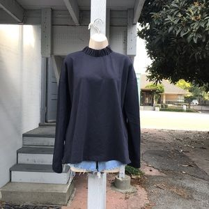 COS Navy Scrunched Mock-Neck Long-Sleeve Top